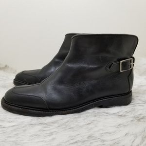 John Varvatos black leather ankle boots booties 9